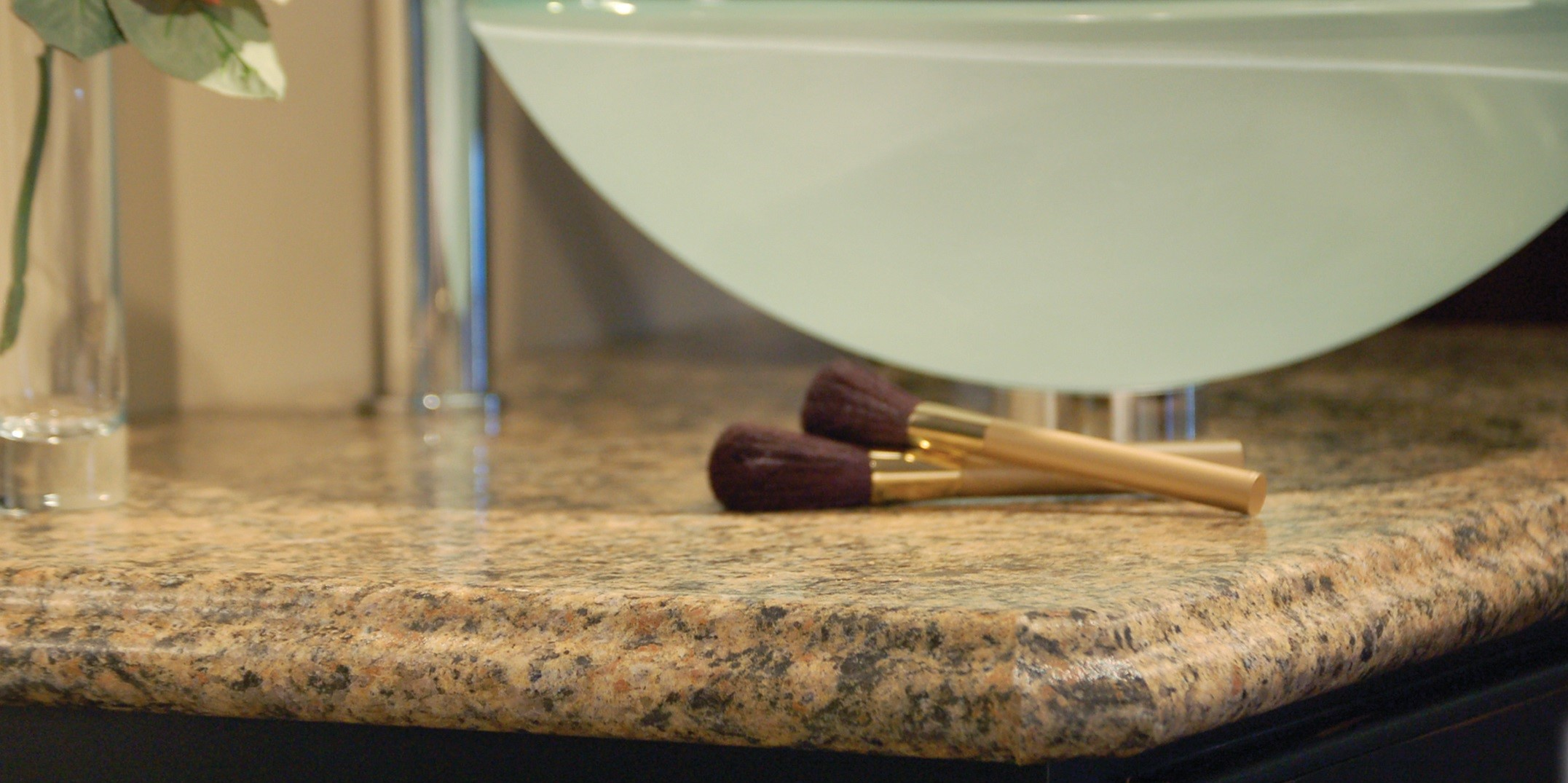 Countertop with makeup brushes