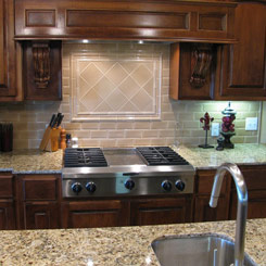 Kitchen island with sink, and stove