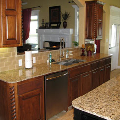 Kitchen sink, countertop and mirror